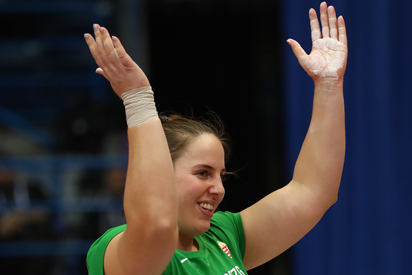 Anita Marton after winning the shot put at the European Indoor Championships in Belgrade (Getty Images)