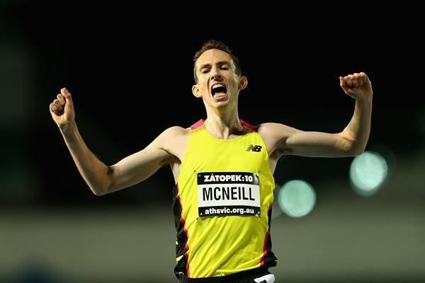 David McNeill winning the 2015 Zatopek:10 (Getty Images)