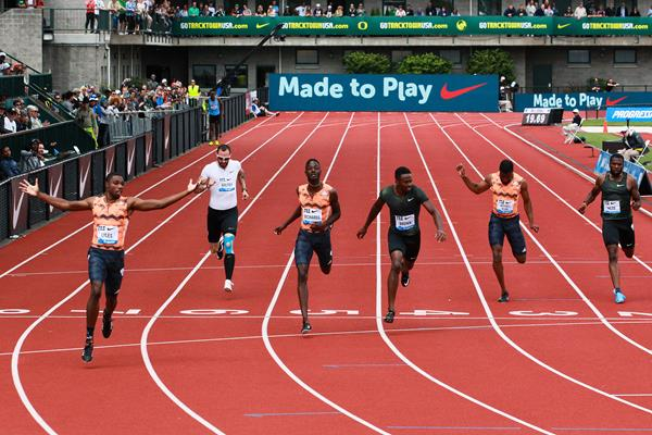 Noah Lyles sizzles to a 19.69 victory over 200m at the IAAF Diamond League meeting in Eugene (Victah Sailer)