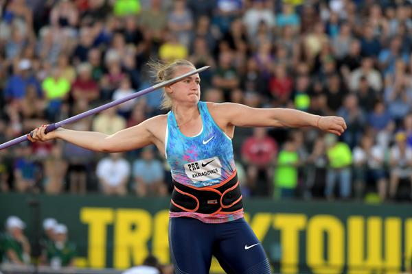 Tatsiana Khaladovich in action at the IAAF Diamond League meeting in Eugene ()