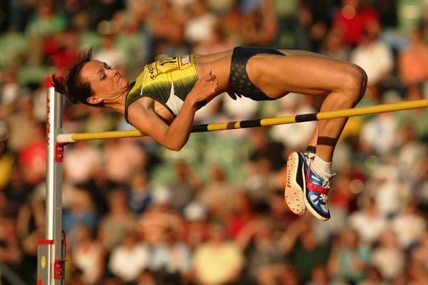 Yelena Slesarenko of Russia wins the women's High Jump in Oslo 2007 (Getty Images)