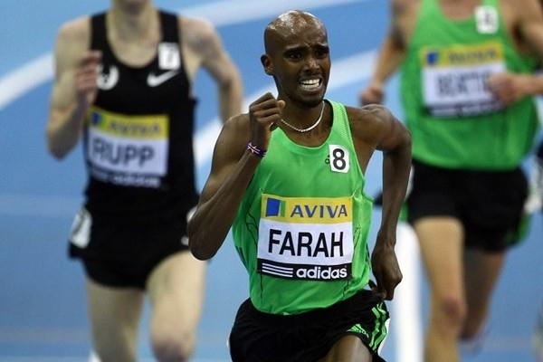 Mo Farah en route to his European indoor 5000m record in Birmingham (Getty Images)