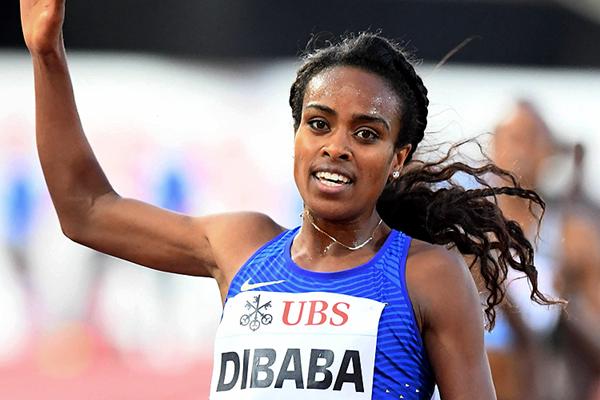 Ethiopia's Genzebe Dibaba crosses the finish line (Gladys Chai von der Laage)