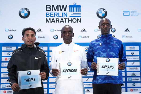 Zersenay Tadese, Eliud Kipchoge and Wilson Kipsang in Berlin (Victah Sailer)
