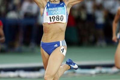Fani Halkia of Greece celebrates winning the 400m Hurdles (Getty Images)