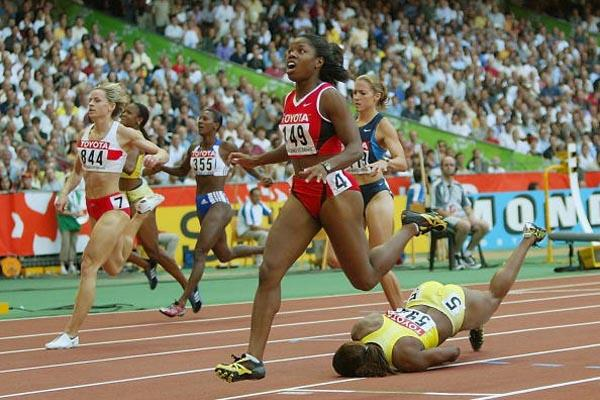 Brigette Foster of Jamaica falls to the floor after clinching silver (Getty Images)
