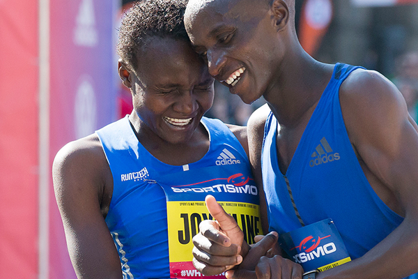 Joyciline Jepkosgei after winning the Sportisimo Prague Half Marathon (AFP / Getty Images)