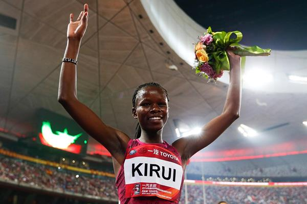 Purity Kirui after winning the 3000m steeplechase in Beijing (Getty Images)