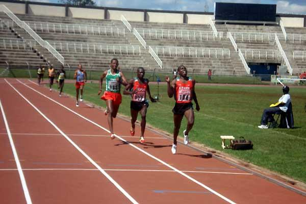 Geoffrey Rono leads world champion Remmy Limo to victory in the 1500m finals of the ANOCA Championships (Peter Njenga)
