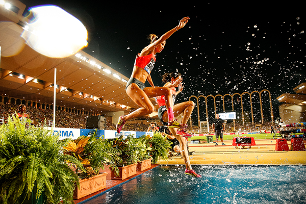 Eventual winner Habiba Ghribi in the 3000m steeplechase at the IAAF Diamond League meeting in Monaco (Philippe Fitte)