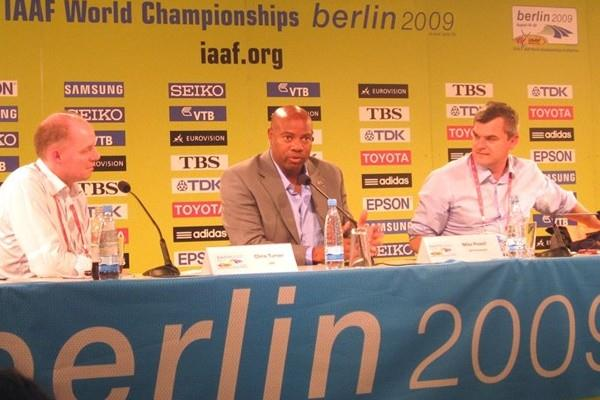 IAAF Editorial Senior Manager Chris Turner, IAAF Ambassador Mike Powell, and IAAF Communications Director Nick Davies at the IAAF Daily Media briefing in Berlin (Laura Arcoleo)