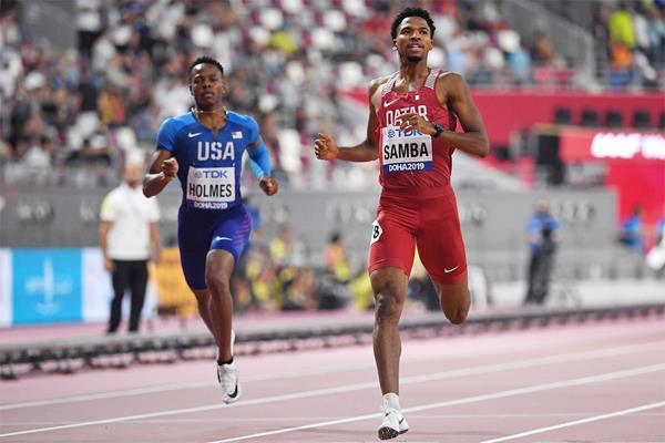Abderrahman Samba in his opening round race at the IAAF World Athletics Championships Doha 2019 (AFP/Getty Images)