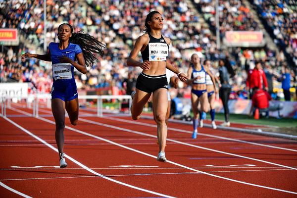 Sydney McLaughlin wins the 400m hurdles at the IAAF Diamond League meeting in Oslo (Deca Text & Bild)
