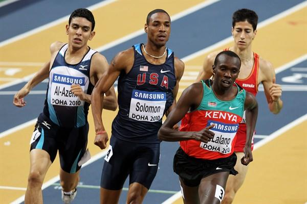 USA's Duane Solomon and Kenya's Boaz Lalang compete in the men's 800m heats in Doha (Getty Images)