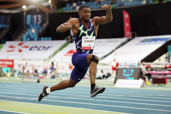 Triple jump winner Hugues Fabrice Zango at the World Athletics Indoor Tour meeting in Lievin (Jean-Pierre Durand)
