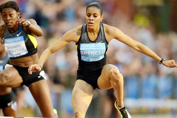 Kaliese Spencer on her way to winning the 400m hurdles at the IAAF Diamond League meeting in Brussels (Jiro Mochizuki)