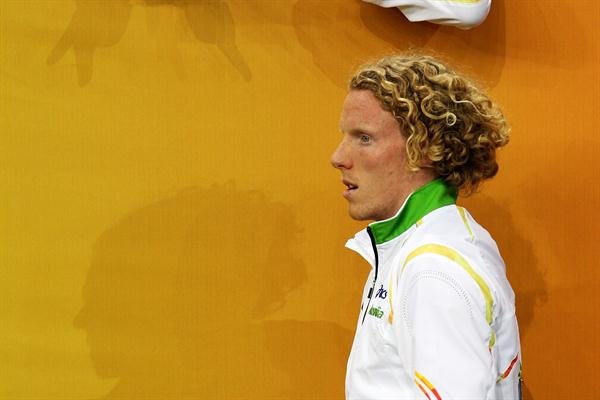 World and Olympic pole vault champion Steven Hooker of Australia speaks to his coach during qualification in Doha (Getty Images)