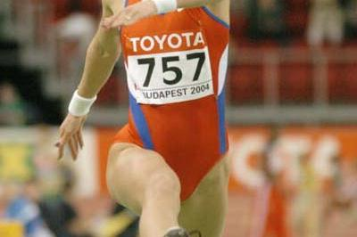 Tatyana Lebedeva of Russia at the World Indoor Championships in Budapest (Getty Images)