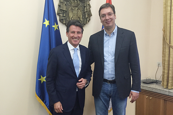 IAAF President Sebastian Coe with Serbian Prime Minister Aleksandar Vocic (IAAF)