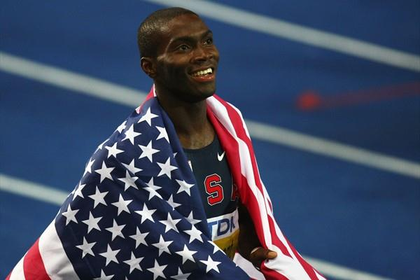 Kerron Clement of United States celebrates winning the gold medal in the men's 400m hurdles final in a world leading time of 47.91 seconds (Getty Images)