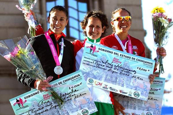 Ana Cabecinha, Ines Henriques and Monica Equihua at the 2013 IAAF Race Walking Challenge meeting in Chihuahua, Mexico (organisers)