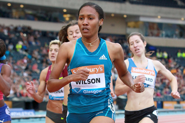 Ajee Wilson in the 800m at the IAAF Diamond League meeting in Glasgow (Victah Sailer)
