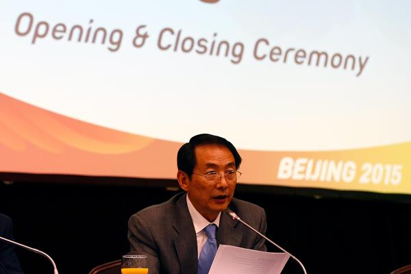 Chinese Athletics Federation vice president Chunde Shen delivers progress report to IAAF Council (Getty Images)