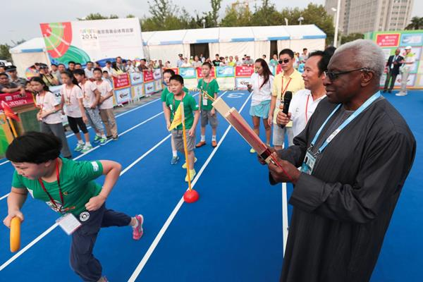 IAAF president Lamine Diack at the IAAF Kids' Athletics event in Nanjing (Getty Images)