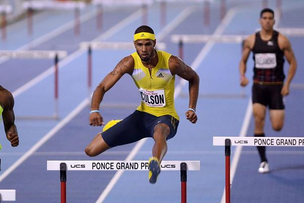 Javier Culson winning the 400m hurdles at the 2014 Ponce Grand Prix (Rafael Contreras)