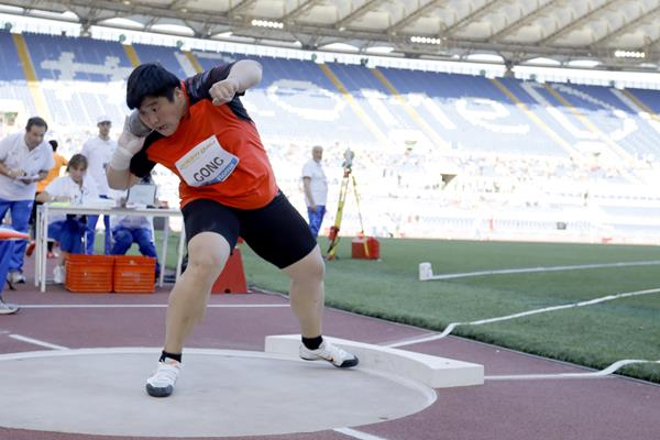 Gong Lijiao winning the shot put at the IAAF Diamond League meeting in Rome (Philippe Fitte)