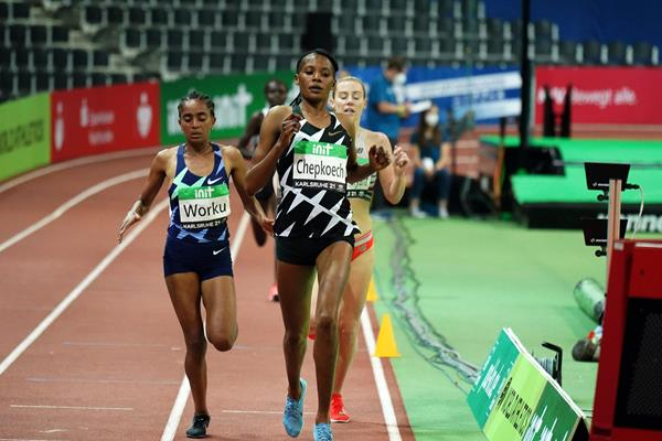 Beatrice Chepkoech wins the 3000m at the World Athletics Indoor Tour meeting in Karlsruhe (Gladys Chai von der Laage)