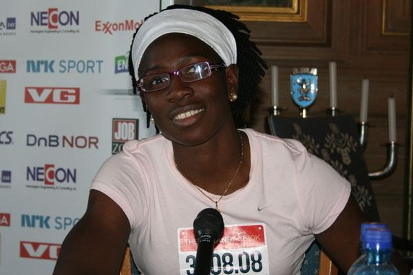 Josephine Onyia at the Bislett Games pre-meet press conference at Oslo's City hall (Bob Ramsak)