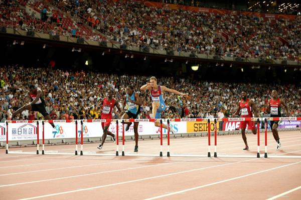 Denis Kudryavtsev in the 400m hurdles final at the IAAF World Championships Beijing 2015 (Getty Images)