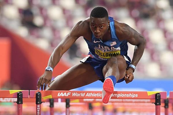 Grant Holloway en route to the world 110m hurdles title in Doha (Getty Images)