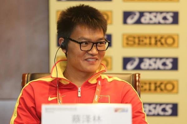 Cai Zelin at the press conference ahead of the IAAF World Race Walking Team Championships Taicang 2018 (Getty Images)