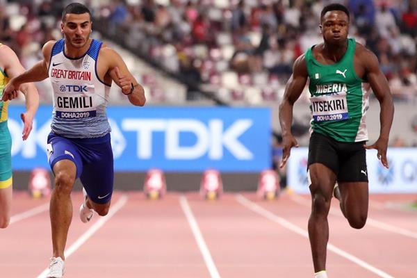 Adam Gemili and Usheoritse Itsekiri at the 2019 World Championships (Getty Images)