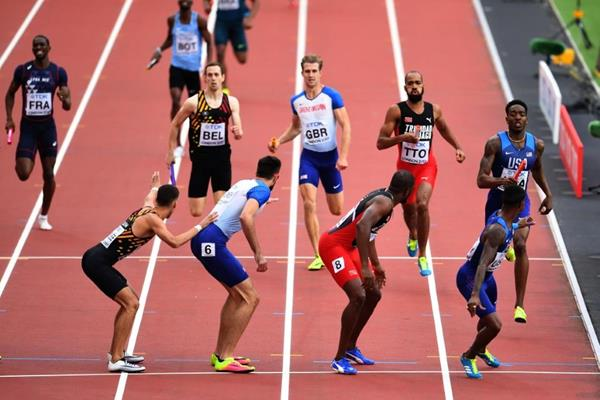 Action in the opening round heats of the men's 4x400m relay at the IAAF World Championships London 2017 (Getty Images)