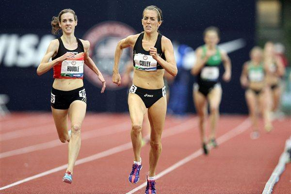 Julie Culley edges Molly Huddle in the Eugene 5000m (Getty Images)