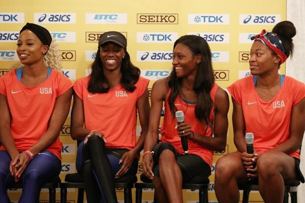 The US 4x400m team at the press conference ahead of the IAAF/BTC World Relays Bahamas 2017 (Getty Images)