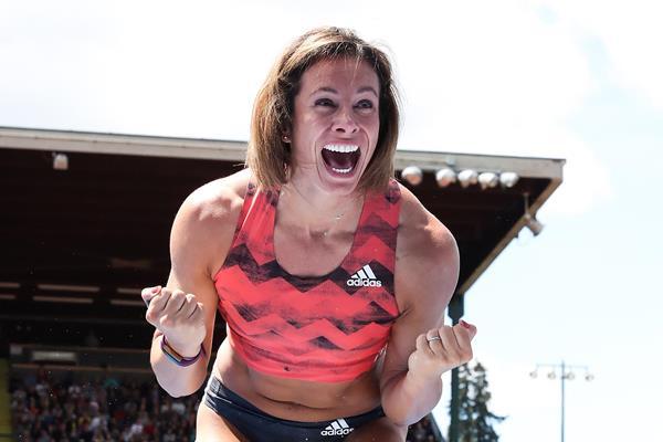 Pole vault winner Jenn Suhr at the IAAF Diamond League meeting in Eugene (Victah Sailer)