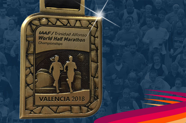 Mass race medal for the IAAF/Trinidad Alfonso World Half Marathon Championships Valencia 2018 (LOC)