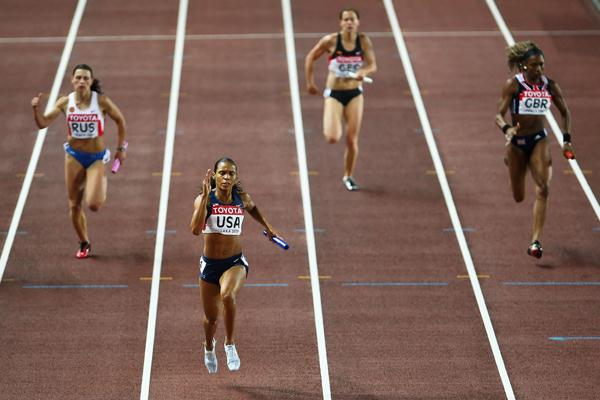 Yevgeniya Polyakova of Russia, Torri Edwards of USA, Verena Sailer of Germany and Joice Maduaka of GBR during the Women's 4 x 100m Relay Final (Getty Images)