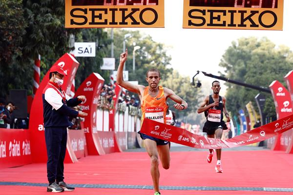 Amedework Walelegn clocks course record at Airtel Delhi Half Marathon (Procam International)