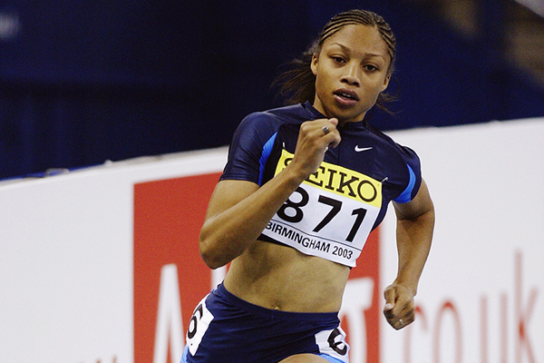 Allyson Felix in the 200m at the 2003 IAAF World Indoor Championships in Birmingham (Getty Images)