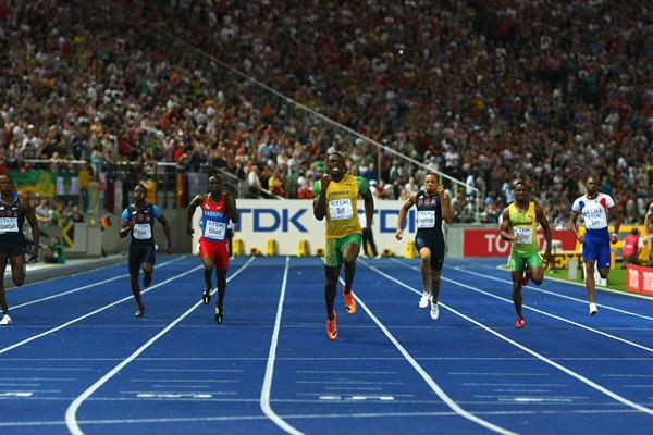Usain Bolt of Jamaica on his way to setting the quickest 200m time in history in the Berlin Olympic Stadium during the IAAF World Championships in 2009 (Getty Images)