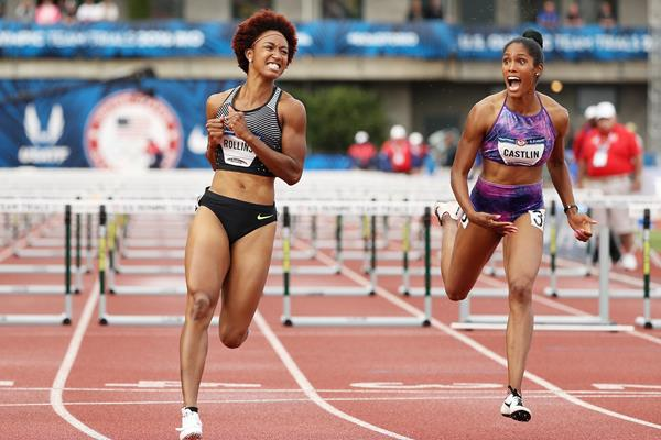 Brianna Rollins and Kristi Castlin celebrate after their 1-2 finish at the US Olympic Trials (Getty Images)