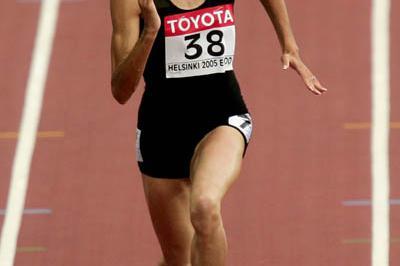 Fabienne Feraez of Benin wins heat 3 of the women's 200m (Getty Images)