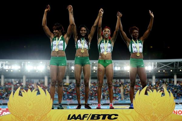 Nigeria, winners of the women's 4x200m at the IAAF/BTC World Relays, Bahamas 2015 (Getty Images)