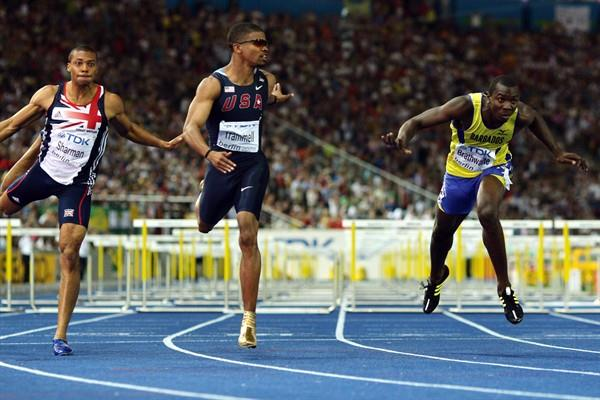 (L-R) Great Britain's William Sharman, the USA's Terrence Trammell and Ryan Brathwaite from Barbados cross the line of the men's 110m hurdles final at the 12th IAAF World Championships in Athletics (Getty Images)