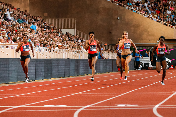 Candyce McGrone (far left) wins the 200m at the IAAF Diamond League meeting in Monaco (Philippe Fitte)